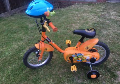 Vélo enfant Decathlon B'twin 14' Crocodile + casque 1